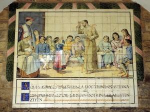 Ermita de la Magdalena. Predicación de San Ignacio de Loyola. Pintura sobre azulejo.