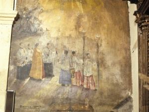Santuario de Nuestra Señora de Guadalupe. Pintura mural. Testamento de Juan Sebastián Elcano