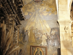 Santuario de Nuestra Señora de Guadalupe. Pintura mural. Adoración a la Virgen de Guadalupe
