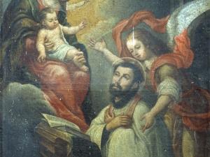 Ermita de San Pedro. Pintura. Santo arrodillado ante la Virgen