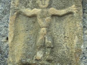 Iglesia parroquial de San Miguel Arcángel de Apotzaga. Figura masculina. Relieve