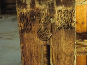 Ermita de San Cristóbal. Vigas. Talla en madera