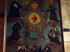 Basílica del Santo Cristo de Lezo. Pintura. Adoración de Santos jesuitas al Sagrado Corazón