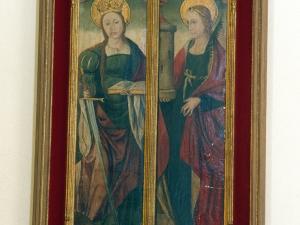 Ermita de Arritokieta. Díptico de Santa Catalina y Santa Bárbara. Pintura sobre tabla