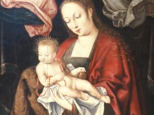 Museo Diocesano de San Sebastián. Pintura. Detalle de la Virgen con niño