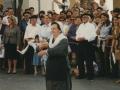 Dantzariak herriko plazan Juan Ignazio Iztuetaren omenaldian
