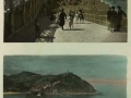 San Sebastián : bajada a la playa = descente a la plage ; San Sebastián : isla de Santa Clara e Igueldo = île de Sainte Clare e Igueldo