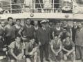 Remeros con Francisco Franco y el alcalde Fernández de Casadevante en el puerto de San Sebastián en la Bandera de la Concha