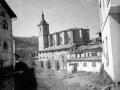 """Lazcano (Guipuzcua). Paisaje con la Iglesia Parroquial al fondo"""