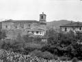 Paisaje de Zaldibia con la iglesia Parroquial de Santa Fé