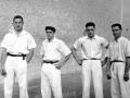 Migel Gallastegi, Atano III.a (Mariano Juaristi), Onaindia (Dionisio Onaindia) eta Ignazio Kortabitarte pilotariak Eibarko Astelena pilotalekuan