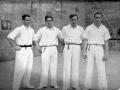 Los pelotaris Ignacio Cortabitarte, Arrien II (Felipe Arrien), Mariano Lazcano y José Luis Acarregui en el frontón de Lekeitio