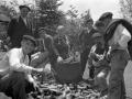Mujer vendiendo cencerros en la feria de Urkiola
