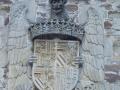 Bidaurreta monasterioko mendebaldeko fatxadako Errege Katolikoen armarria