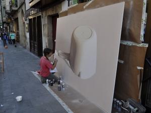 Dizzebi grafiti bat margotzen