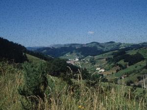 Zaldibia herriaren ikuspegi panoramikoa inguruetako mendietatik